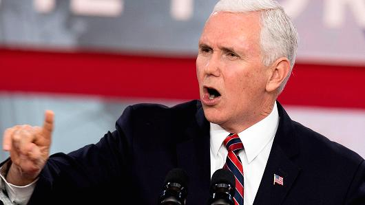 Vice President Mike Pence speaks during a 2018 Conservative Political Action Conference during National Harbor in Oxen Hill, Maryland on Feb 22, 2018.